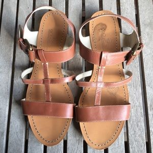 Brooks Brothers Tan Leather Strappy Sandals